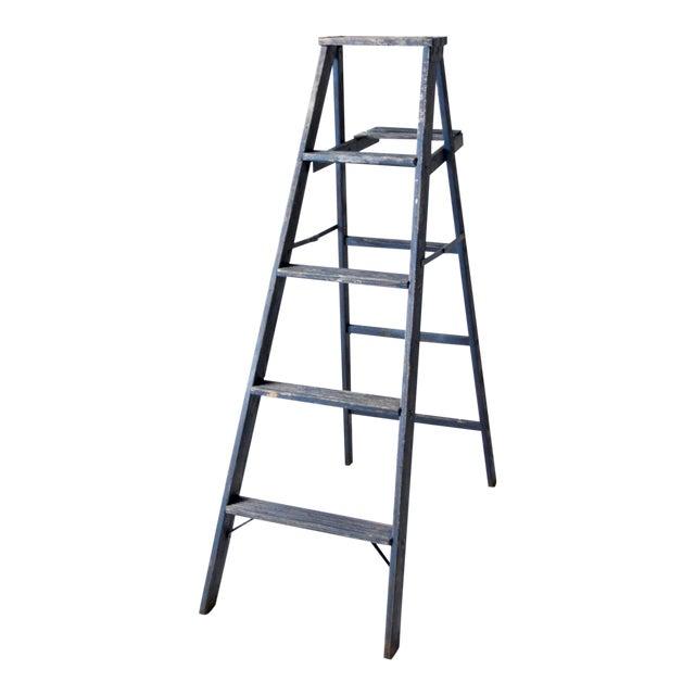 Vintage Blue Wooden Ladder For Sale