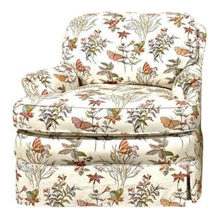 Century Furniture Upholstered Butterfly-Botanical Skirted Vintage Club Chair For Sale