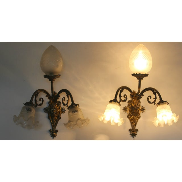 Victorian Brass & Cut Glass Wall Sconces - Pair - Image 2 of 6