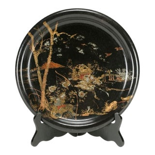 Round Black Lacquered Tray, China c.1890 For Sale