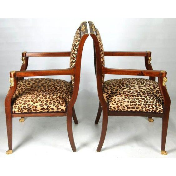 High End Empire Style Chairs With Leopard Fabric- a Pair For Sale In Palm Springs - Image 6 of 9