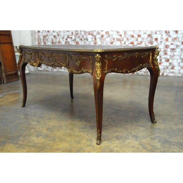 Louis XV Style Ormolu Mounted Figural Bureau Plat Desk For Sale - Image 4 of 10