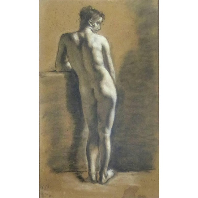 Mid 18th Century Drawings of Male Nude Figures Attributed to Francois Boucher, Circa 1750 - a Pair For Sale - Image 5 of 11
