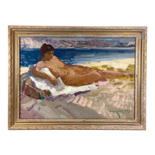 2009 Figurative Oil Painting on Canvas Nude Woman on Beach, Signed For Sale