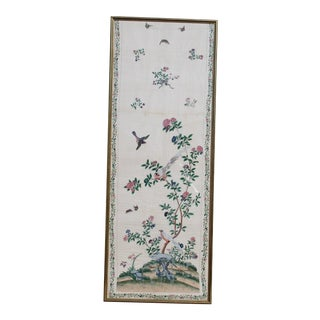 19th Century Chinese Export Painting Wallpaper, Framed For Sale