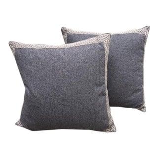 Navy Herringbone Throw Pillows - A Pair