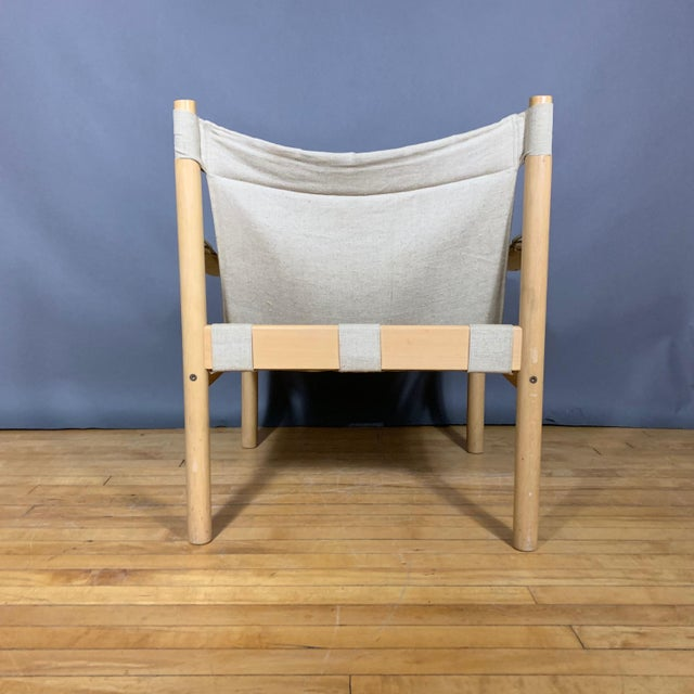 Canvas Oak & Canvas Safari Chair, Grainsack Seat, Worts Style For Sale - Image 7 of 11