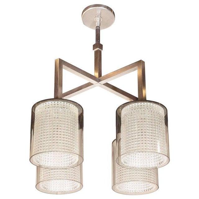 Scandinavian Mid-Century Modern Four-Arm Chandelier, Carl Fagerlund for Orrefors For Sale - Image 11 of 11