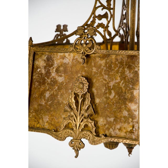 Gold Victorian Style Mica 4 Light Chandelier For Sale - Image 8 of 13