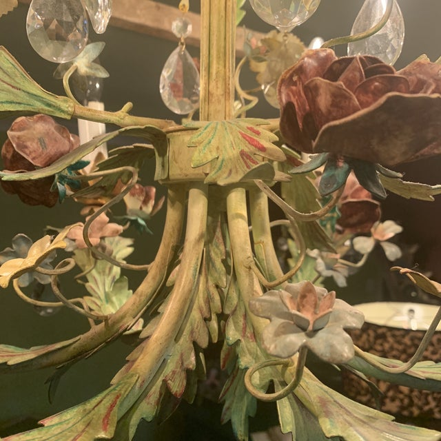 Green Iron Floral Chandelier For Sale - Image 6 of 13