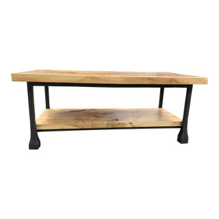 Industrial Restoration Hardware Knotty Wood & Iron Coffee Table For Sale