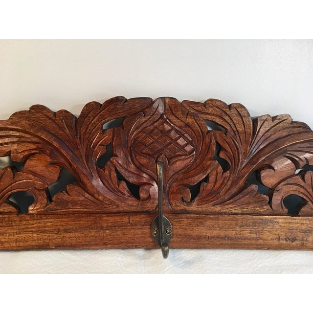 Antique Hand Carved Wall Coat Rack - Image 3 of 8
