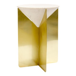 Pasargad Home Serena Marble & Stainless Steel Side Table For Sale