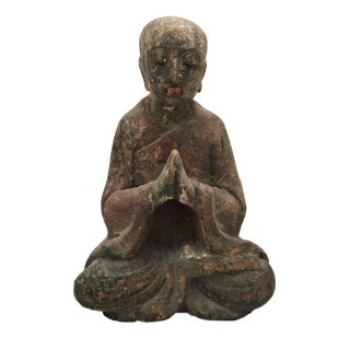 """Old Wooden Greeting Buddha 9"""" H For Sale"""