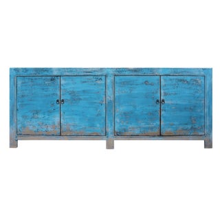 Distressed Pastel Blue Rough Finish High Credenza Console Buffet Table For Sale
