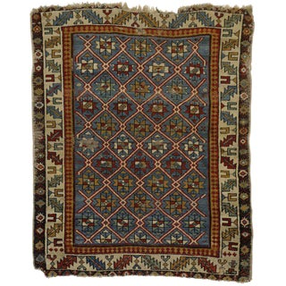 19th Century Russian Caucasian Shirvan Rug - 3′4″ × 4′ For Sale