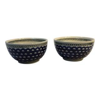 1970s Hand Made Boleslawiec Bowls - a Pair For Sale