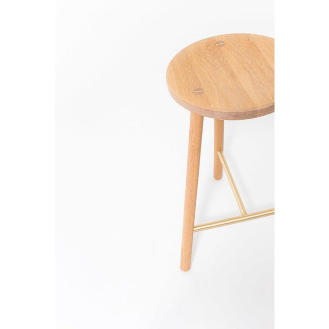 Contemporary Steven Bukowski Contemporary Scout Stool in Cerused White Oak and Brass For Sale - Image 3 of 3