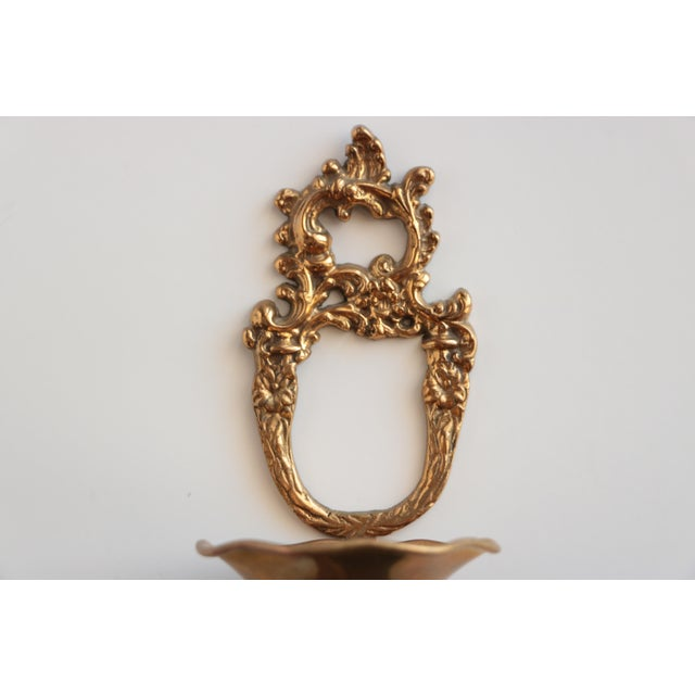 Wall Mounted Scrolled Brass Flower Vase - Image 2 of 4