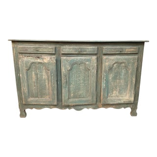 Vintage French Distress Painted Dark Green Long Buffet For Sale