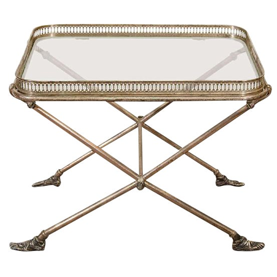 Fantastic Figural Italian Silvered Bronze and Glass Tray Table For Sale