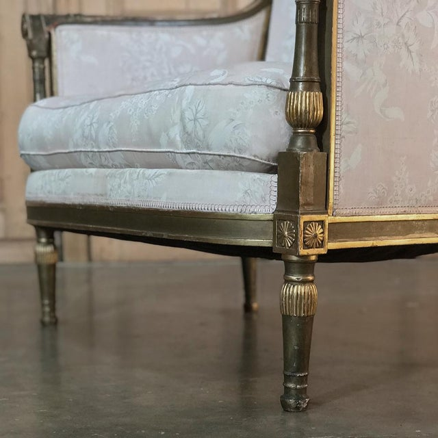 19th Century Italian Gilded Neoclassical Chair & a Half For Sale - Image 9 of 11