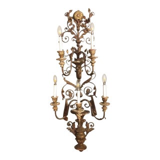Italian Gilded Wall Sconce With Five Lights For Sale