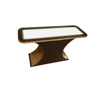 Vintage Hollywood Regency Arched Gold and Black Console Table by Century Furniture For Sale