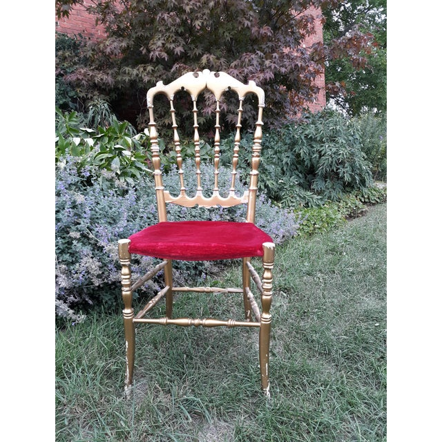 Wood Vintage Italian Chiavari Chair in Gold Over Wood For Sale - Image 7 of 12