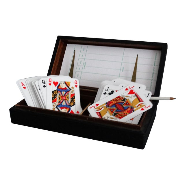Italian Leather Playing Cards Box Set For Sale