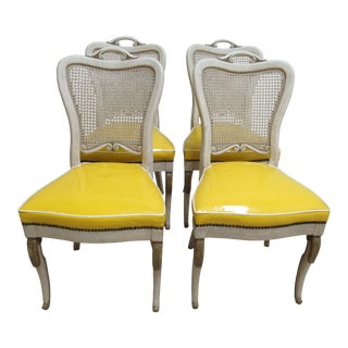 Vintage Custom French Regency Cane Dining Chairs - Set of 4