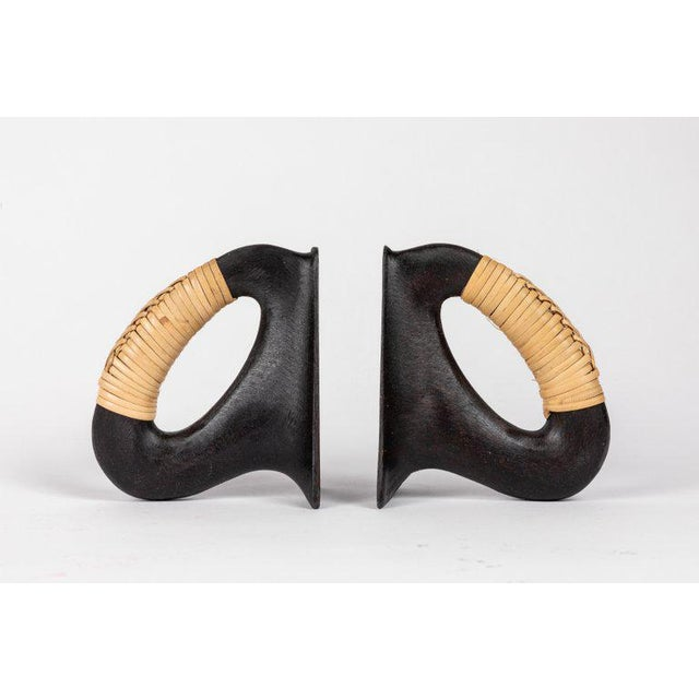 Carl Auböck Carl Auböck Model 'Flatiron' Patinated Brass and Cane Bookends - A Pair For Sale - Image 4 of 12