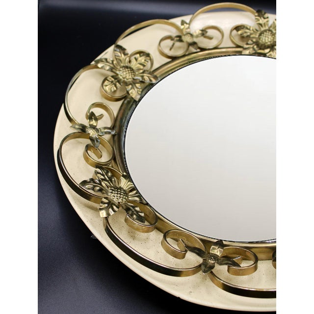 Vintage Round Floral Tole Convex Mirror For Sale - Image 4 of 10