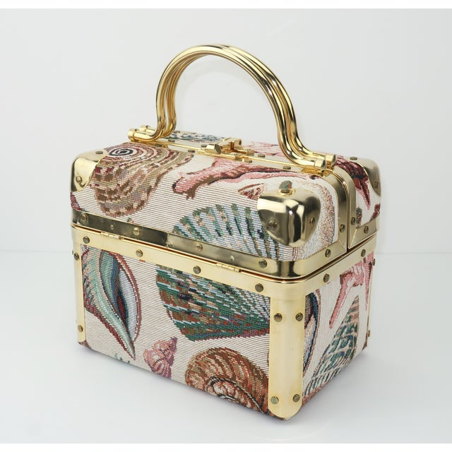 1980's Lisette New York Seashell Tapestry Train Case Handbag For Sale - Image 12 of 12