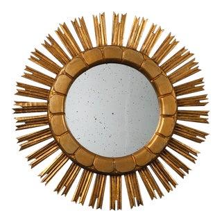 Mid Century Medium Size Gilt Wood Sunburst Mirror For Sale