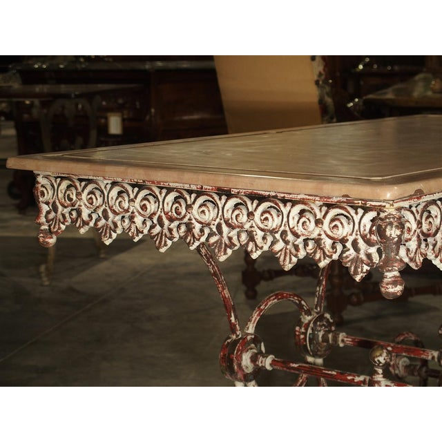 French French Iron and Marble Pastry Table For Sale - Image 3 of 13