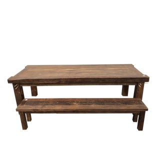 Rustic Old Teak Dining Table & Bench For Sale