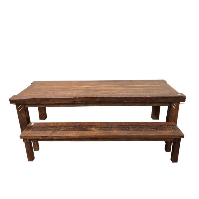 Fantastic Rustic Old Teak Dining Table Bench Lamtechconsult Wood Chair Design Ideas Lamtechconsultcom