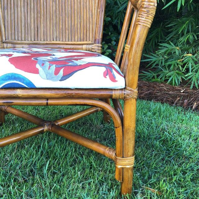 Brown Carleton Varney Fabric Upholstered Bamboo Arm Chairs - a Pair For Sale - Image 8 of 12