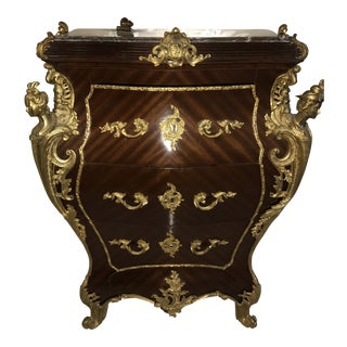 "Belgravia ""B"" Demiune Mahogany Commode With Guilded Figurines and Marble Top For Sale"