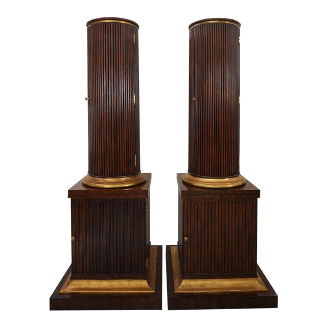 Vintage English Regency Style Cabinets Column High Pedestal Form - a Pair For Sale