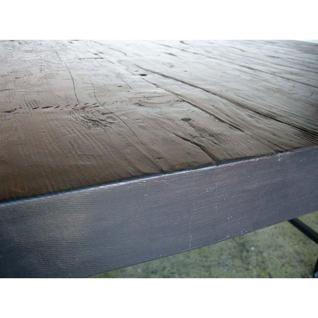 Custom Industrial Style Reclaimed Wood Square Dining Table With Iron Base For Sale - Image 4 of 4