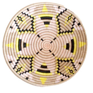 Black & Yellow Woven African Basket For Sale