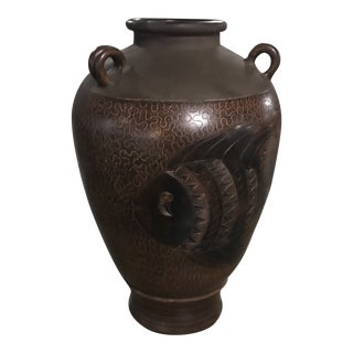 Large Hand Carved & Hand Painted Ceramic Stone Floor Vase For Sale