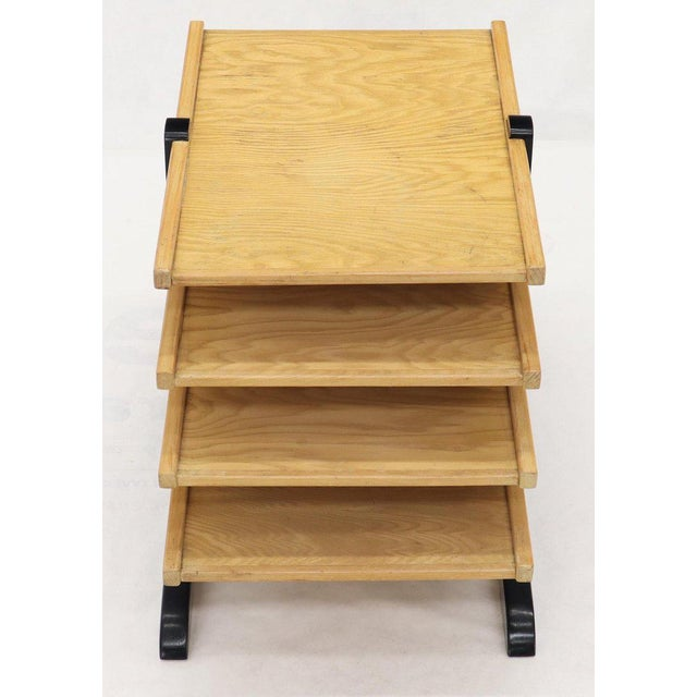 Wood Mid-Century Modern Oak 4-Tier Magazine Rack Stand Shelf Storage For Sale - Image 7 of 10