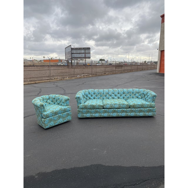 Truly amazing and beautiful one of a kind tufted chesterfield style sofa in electric blue and green floral upholstery....