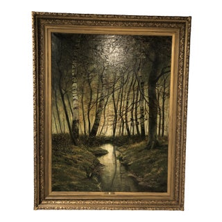 19th Century Oil Painting by Leon Delderenne in Original Frame For Sale