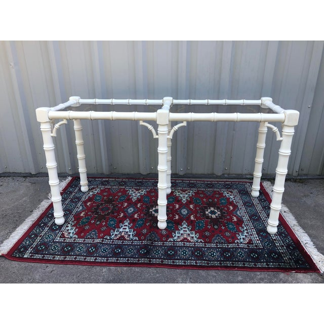 White 1970s Chippendale Lane Faux Bamboo Console Table With Smoked Glass For Sale - Image 8 of 8