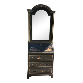 Vintage Chinoiserie Illuminated Display Cabinet/Secretary For Sale