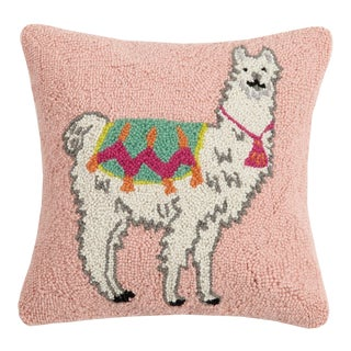 "Llama New Festival Hook Pillow, 16"" x 16"" For Sale"